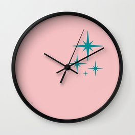 1950s Atomic Age Retro Starburst in Teal Blue and Bubblegum Pink Wall Clock