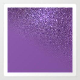 Diagonal Violet Purple Glitter Gradient Ombre Art Print