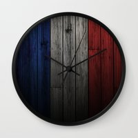 france Wall Clocks featuring France by Nicklas Gustafsson