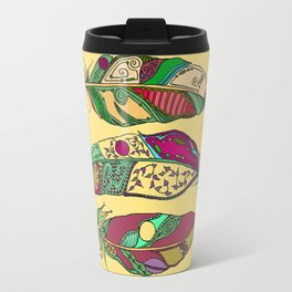 Bohemian Feathers on Honey Yellow - Hand-drawn Illustration Travel Mug