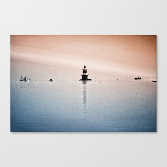 Fishing Near The Lighthouse Canvas Print
