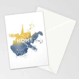 West Virginia State Map Watercolor Home Painting WV Pride Stationery Cards