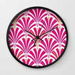 Art Deco Fan Pattern, Fuchsia Pink and White Wall Clock