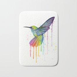 Hummingbird Rainbow Watercolor Bath Mat