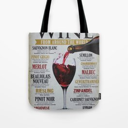 Vintage Wines from around the world Wine Advertisement Wall Art Tote Bag