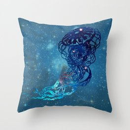 Blue Galactic Jelly Fish Throw Pillow