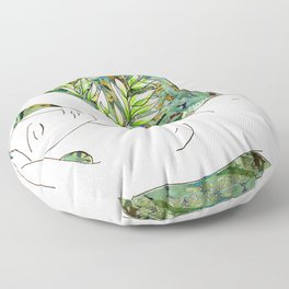 Nude with Green Flowers Floor Pillow