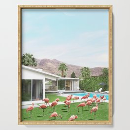 Flamingos in Palm Springs Serving Tray