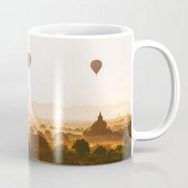 Hot-Air Balloons Flying Over Bagan Pagodas in Myanmar (Burma) Coffee Mug