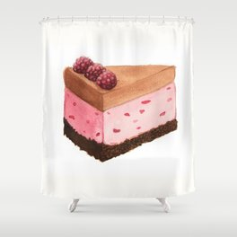 Raspberry Ice Cream Cake Slice Shower Curtain