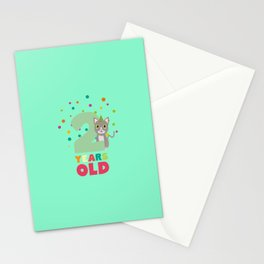 Two Years second Birthday Party Cat T-Shirt D7fw4 Stationery Cards