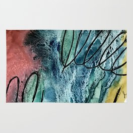 Motion: an abstract mixed media piece in muted primary colors Rug