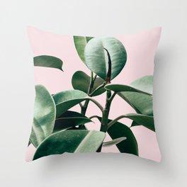 Plant, Green, Leaf, Pink, Minimal, Trendy decor, Interior, Wall art, Photo Art Print Throw Pillow