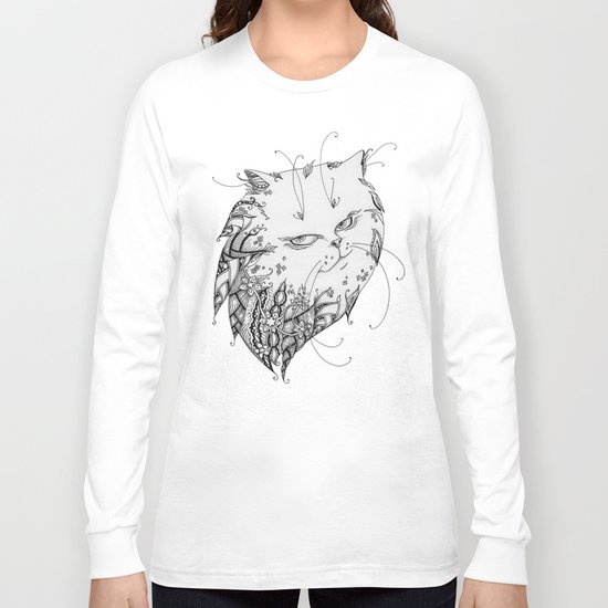 Abstract black and white cat Long Sleeve T-shirt