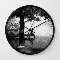 alone Wall Clocks featuring Alone by Kerri Swayze