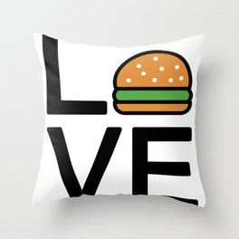 Love Burgers Cute And Funny Love Design Throw Pillow
