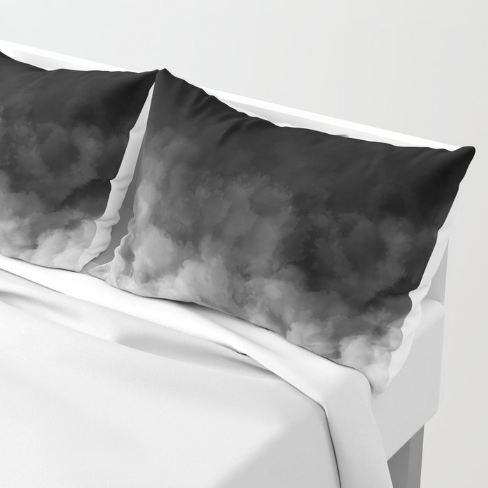 Ombre Black White Clouds Minimal Pillow Sham