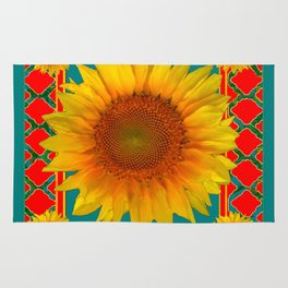 DECORATIVE RED-TEAL  DECO YELLOW SUNFLOWERS Rug