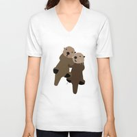 otters V-neck T-shirts featuring Made For Each Otter by Carrie Ambo