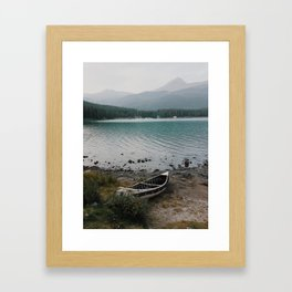 Canoe, Maligne Lake, Jasper National Park, Alberta, Canada Framed Art Print