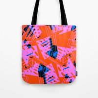 orange pattern Tote Bags featuring Orange Pattern by Sarah Bagshaw
