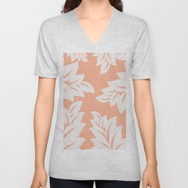 tropical coral leaves Unisex V-Neck