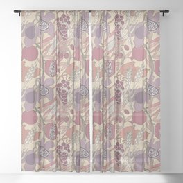 Seven Species Botanical Fruit and Grain in Mauve Tones Sheer Curtain