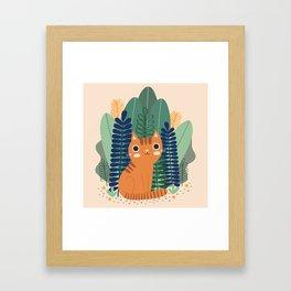 Orange Garden Cat Framed Art Print