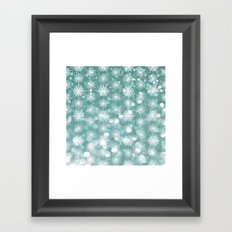 Holiday Teal and Flurries Framed Art Print