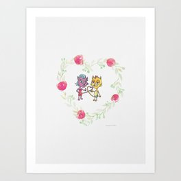 Cool Cats in Wreath-Pink Flowers and Watercolor Paper Texture Art Print