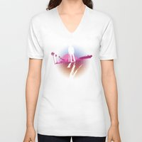 hotline miami V-neck T-shirts featuring Enjoy The Violence - Hotline Miami 2 Minimalist Poster 2 by Marco Mottura - Mdk7
