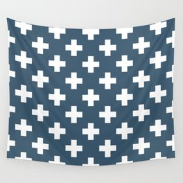 Dusky Blue Plus Signs Pattern Wall Tapestry
