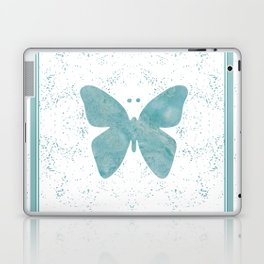 Decorative White Overlay Turquoise Marble Buttefly Laptop & iPad Skin