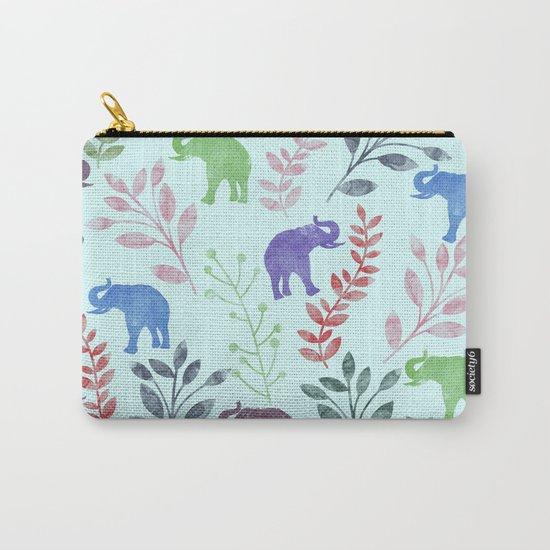 Watercolor Flowers & Elephants II Carry-All Pouch