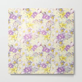 Vintage pattern- Spring in purple and yellow- daffodils and anemones Metal Print