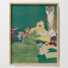 Fantasy Art Deco Woman With Pet Tiger Self culture (edited) - The Werner Company - 1890-1900 Serving Tray