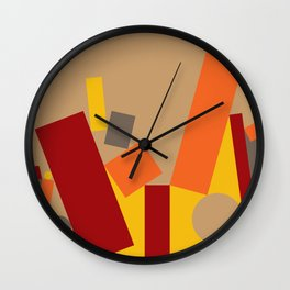 Soft Brown Leaning Shapes Geometric Abstract Wall Clock
