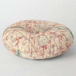 Vintage Map of Paris France (1910) Floor Pillow