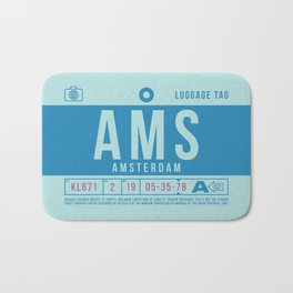 Retro Airline Luggage Tag 2.0 - AMS Amsterdam Airport Netherlands Bath Mat