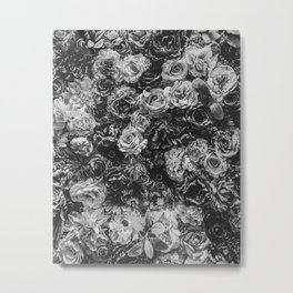 Flower Wall // Black and White Flat Floral Accent Background Jaw Dropping Decoration Metal Print