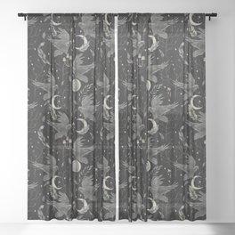 watercolor crow Sheer Curtain