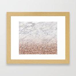 Bold ombre rose gold glitter - white marble Framed Art Print