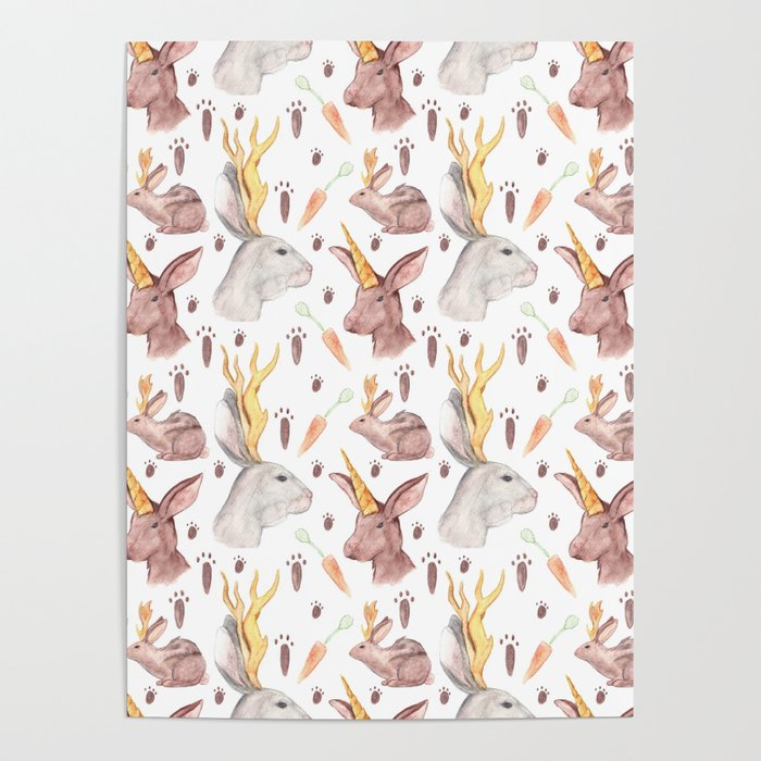 Mythical Rabbits Poster