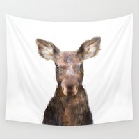 moose Wall Tapestries featuring Little Moose by Amy Hamilton
