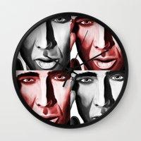 nicolas cage Wall Clocks featuring Nicolas by ArtChickStudio