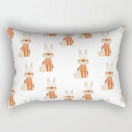 Cute funny hand drawn orange brown vector rabbit pattern Rectangular Pillow