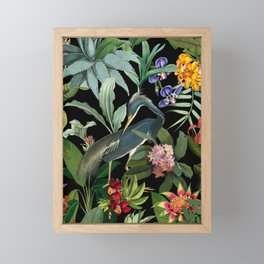 Vintage & Shabby Chic - Midnight Tropical Garden Blue Heron Framed Mini Art Print