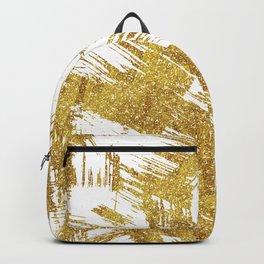 Elegant faux gold glitter brushstrokes pattern Backpack