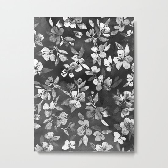 Blossoms on Charcoal Ink Metal Print