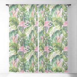 Flamingo Tropical, Colorful Tropical Jungle Monstera Painting, Watercolor Birds Banana Leaves Sheer Curtain
